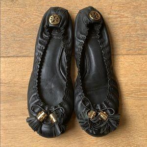 Tory Burch Black Leather Tassel Ballet Flats sz 8